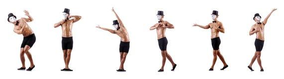 Το γυμνό μυϊκό mime που απομονώνεται στο λευκό Στοκ Φωτογραφία