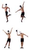 Το γυμνό μυϊκό mime που απομονώνεται στο λευκό Στοκ Εικόνες