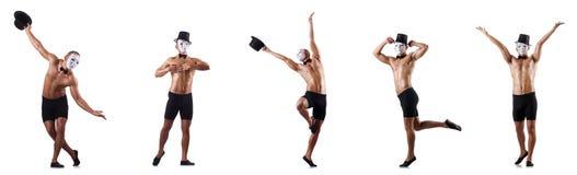 Το γυμνό μυϊκό mime στο λευκό Στοκ φωτογραφία με δικαίωμα ελεύθερης χρήσης