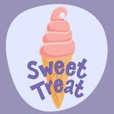 Το γλυκό αφισών μεταχειρίζεται με το παγωτό επίσης corel σύρετε το διάνυσμα απεικόνισης Στοκ φωτογραφίες με δικαίωμα ελεύθερης χρήσης