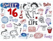 Το γλυκό κόμμα 16, doodle έθεσε Στοκ Εικόνα