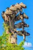 Το γλυπτό του βασιλιά του naga (7 κεφάλια) που προστατεύει το Βούδα φ στοκ φωτογραφία με δικαίωμα ελεύθερης χρήσης
