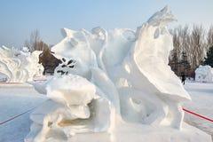 Το γλυπτό χιονιού - θερινό όνειρο Στοκ φωτογραφίες με δικαίωμα ελεύθερης χρήσης