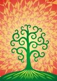 Το δέντρο της ζωής σε έναν πράσινο λόφο Ο τύπος του κόσμου πνευματικό σύμβολο Στοκ Φωτογραφία