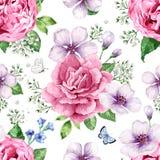 Το δέντρο της Apple, τριαντάφυλλα, hydrangea ανθίζει τα πέταλα και τα φύλλα στο ύφος watercolor στο άσπρο υπόβαθρο άνευ ραφής πρό απεικόνιση αποθεμάτων