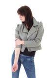το δέρμα σακακιών της που εμφανίζει γυναίκα δερματοστιξιών Στοκ Εικόνες