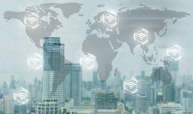 Το δίκτυο Wifi συνδέει την παγκόσμια επικοινωνία Στοκ Εικόνα