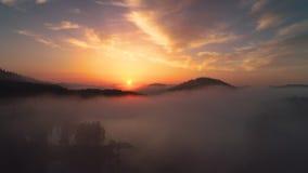 Το δασικό τοπίο και το πρωί θολώνουν πέρα από τη λίμνη βουνών, εναέρια άποψη κηφήνων απόθεμα βίντεο