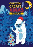 Το δασικό bigfoot νύχτας Χριστουγέννων τεράτων χέρι χειμερινών Χριστουγέννων διακοπών εμβλημάτων υποβάθρου απόκοσμων ευχετήριων κ διανυσματική απεικόνιση