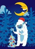 Το δασικό bigfoot νύχτας Χριστουγέννων τεράτων χέρι χειμερινών Χριστουγέννων διακοπών εμβλημάτων υποβάθρου απόκοσμων ευχετήριων κ ελεύθερη απεικόνιση δικαιώματος