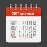 Το Δεκέμβριο του 2017 ημερολογιακό καθημερινό εικονίδιο Διανυσματικό έμβλημα απεικόνισης Στοκ Φωτογραφία