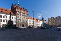 Το Δημαρχείο στο τετράγωνο Δημοκρατίας, Plzen Στοκ Φωτογραφίες