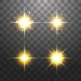 Το δημιουργικό διανυσματικό σύνολο έννοιας χρυσών αστεριών ελαφριάς  διανυσματική απεικόνιση