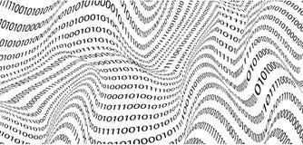 Το δημιουργικό υπόβαθρο των δυαδικών ψηφίων, στο ύφος των κυμάτων η έννοια της τεχνολογίας υπολογιστών r στοκ φωτογραφία