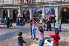 Το δημοφιλέστερο τετράγωνο της πόλης που επισκέπτεται από τους τουρίστες και τους φιλοξενουμένους του δημάρχου της Μαδρίτης Plaza Στοκ Εικόνες