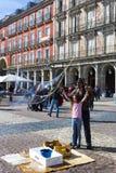 Το δημοφιλέστερο τετράγωνο της πόλης που επισκέπτεται από τους τουρίστες και τους φιλοξενουμένους του δημάρχου της Μαδρίτης Plaza Στοκ εικόνα με δικαίωμα ελεύθερης χρήσης
