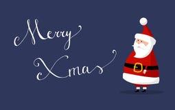 Το διάνυσμα Άγιου Βασίλη με τη Χαρούμενα Χριστούγεννα ` ` επιθυμεί ως εύθυμα Χριστούγεννα ` ` στο δικαίωμα Στοκ Εικόνες