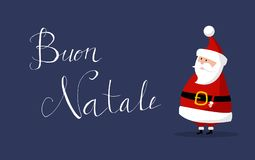 Το διάνυσμα Άγιου Βασίλη με τη Χαρούμενα Χριστούγεννα ` ` επιθυμεί ως ` Buon Natale ` στα ιταλικά γλώσσα στο δικαίωμα Στοκ φωτογραφία με δικαίωμα ελεύθερης χρήσης
