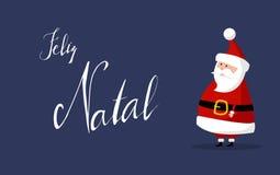 Το διάνυσμα Άγιου Βασίλη με τη Χαρούμενα Χριστούγεννα ` ` επιθυμεί ως ` Feliz γενέθλιο ` στην πορτογαλική γλώσσα στο δικαίωμα Στοκ Εικόνα