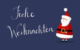 Το διάνυσμα Άγιου Βασίλη με τη Χαρούμενα Χριστούγεννα ` ` επιθυμεί ως ` Frohe Weihnachten ` στη γερμανική γλώσσα στο δικαίωμα Στοκ Εικόνες