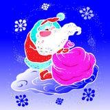 Το διάνυσμα, απεικόνιση, Άγιος Βασίλης, σέρνει μια μεγάλη τσάντα με τα δώρα, για τις νέες διακοπές έτους, σε μια χιονοθύελλα, χιο απεικόνιση αποθεμάτων