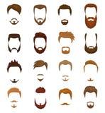 Το διάνυσμα γενειάδων portraite του γενειοφόρου ατόμου με το αρσενικό κούρεμα στο barbershop και το οδοντωτό mustache στα hipster ελεύθερη απεικόνιση δικαιώματος