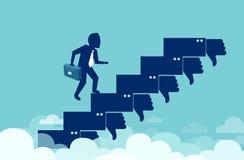 Το διάνυσμα ενός βέβαιου επιχειρησιακού ατόμου που αναρριχείται επάνω στη σκάλα σταδιοδρομίας παρά αρνητικό ανατροφοδοτεί ελεύθερη απεικόνιση δικαιώματος