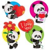 Το διάνυσμα ημέρας βαλεντίνων που τίθεται με το χαριτωμένο panda αντέχει Στοκ Εικόνες