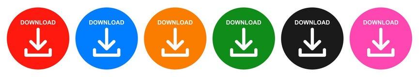 Το διάνυσμα μεταφορτώνει γύρω από το κουμπί έξι το εικονίδιο χρώματος ελεύθερη απεικόνιση δικαιώματος