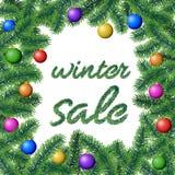 Το διάνυσμα με το σημάδι χειμερινής πώλησης που πλαισιώνεται με το κωνοφόρο δέντρο διακλαδίζεται με τα φύλλα βελόνων και τους κρε απεικόνιση αποθεμάτων