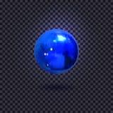 Το διάνυσμα φώτισε την μπλε σφαίρα, που απομονώθηκε στο σκοτεινό διακοσμητικό στοιχείο υποβάθρου ελεύθερη απεικόνιση δικαιώματος