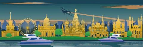 Το διάσημο ορόσημο της Ρωσίας στο πίσω μέρος του ποταμού και το γιοτ στο τοπίο σχεδιάζουν, ταξιδεύουν τον προορισμό, σχέδιο σκιαγ απεικόνιση αποθεμάτων