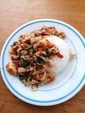 το διάσημο ταϊλανδικό stri τροφίμων τηγάνισε το βρασμένο βασιλικό στοκ φωτογραφία με δικαίωμα ελεύθερης χρήσης