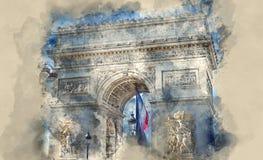 Το διάσημο Arc de Triomphe ορόσημο στο Παρίσι απεικόνιση αποθεμάτων
