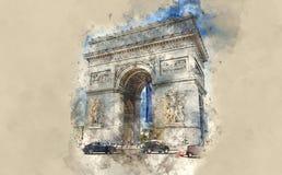 Το διάσημο Arc de Triomphe ορόσημο στο Παρίσι Διανυσματική απεικόνιση