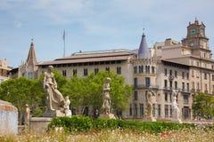Το διάσημο Plaza Catalunya στη Βαρκελώνη Στοκ φωτογραφίες με δικαίωμα ελεύθερης χρήσης