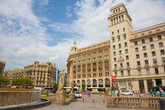 Το διάσημο Plaza Catalunya στη Βαρκελώνη Στοκ Φωτογραφίες