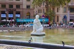 Το διάσημο Plaza Catalunya στη Βαρκελώνη Στοκ Εικόνα