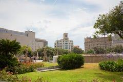 Το διάσημο Plaza Catalunya στη Βαρκελώνη Στοκ φωτογραφία με δικαίωμα ελεύθερης χρήσης