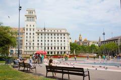 Το διάσημο Plaza Catalunya στη Βαρκελώνη Στοκ Εικόνες