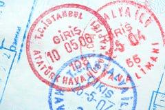 το διαβατήριο σφραγίζει  Στοκ Εικόνες