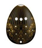 Το διακοσμητικό αυγό μαύρο ο με τα αφηρημένα μοτίβα στο ύφος περιγράμματος είναι Στοκ Εικόνες