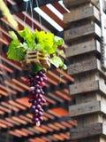 Το διακοσμητικό κρεμώντας χέρι επεξεργάστηκε το βάζο φιαγμένο από συνθετικά λουλούδια και φύλλα πράσινων φυτών Στοκ εικόνα με δικαίωμα ελεύθερης χρήσης