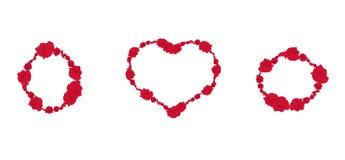 Το διακοσμητικό σύνολο κόκκινων τριαντάφυλλων ανθίζει τα πλαίσια, διανυσματικό eps 10 διανυσματική απεικόνιση