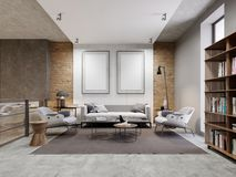 Το διαμέρισμα ζώνης ανοιχτού χώρου με τον καναπέ και την πολυθρόνα και ο διακοσμημένος τοίχος με δύο κενές εικόνες, χλευάζουν επά διανυσματική απεικόνιση