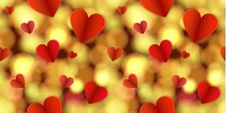 Το διανυσματικό άνευ ραφής καμμένος σχέδιο, αφαιρεί το χρυσό φως και τις καρδιές, φωτεινά χρώματα διανυσματική απεικόνιση