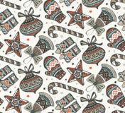 Το διανυσματικό άνευ ραφής σχέδιο με παρουσιάζει, αστέρια και χριστουγεννιάτικα δέντρα Στοκ Φωτογραφίες