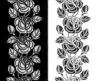 Το διανυσματικό άνευ ραφής σχέδιο με την κεντητική αυξήθηκε λουλούδι, οφθαλμός και φύλλα σε γραπτό Floral κάθετα σύνορα με τα περ ελεύθερη απεικόνιση δικαιώματος