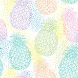 Το διανυσματικό άνευ ραφής σχέδιο με τον ανανά περιλήψεων ή ο ανανάς στην κρητιδογραφία χρωματίζει και σημεία στο άσπρο υπόβαθρο  Στοκ Εικόνες