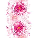 Το διανυσματικό άνευ ραφής σχέδιο με το peony λουλούδι περιλήψεων και το περίκομψο φύλλο στο ροζ κρητιδογραφιών χρωμάτισαν στο άσ Στοκ φωτογραφία με δικαίωμα ελεύθερης χρήσης